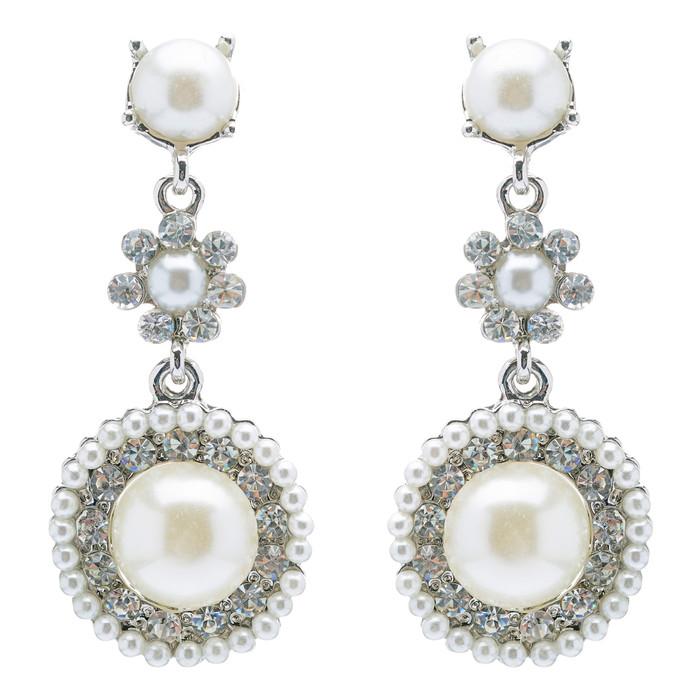 Bridal Wedding Jewelry Crystal Rhinestone Pearl Circle Dangle Earrings Ivory