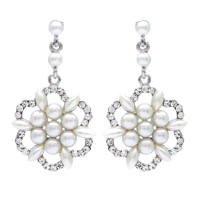 Bridal Wedding Jewelry Crystal Rhinestone Floral Cluster Dangle Earrings Ivory