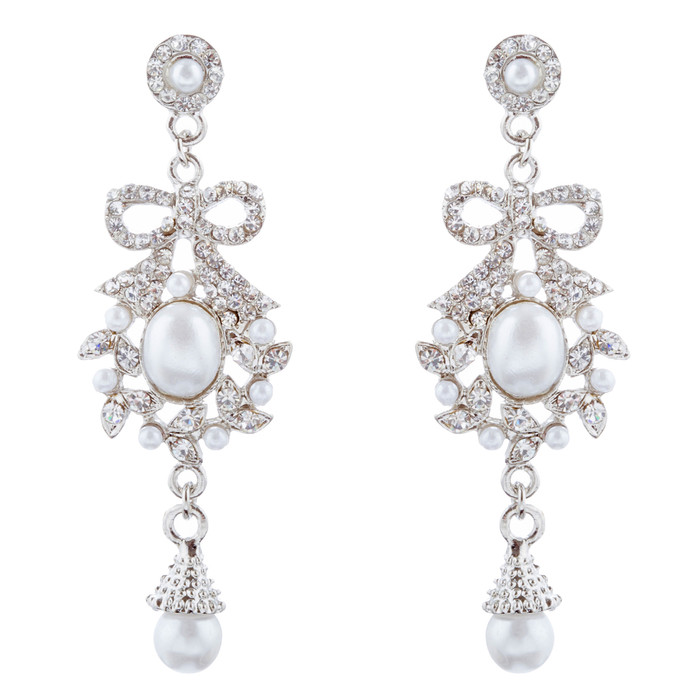 Bridal Wedding Jewelry Crystal Rhinestone Pearl Ribbon Bow Dangle Earrings White