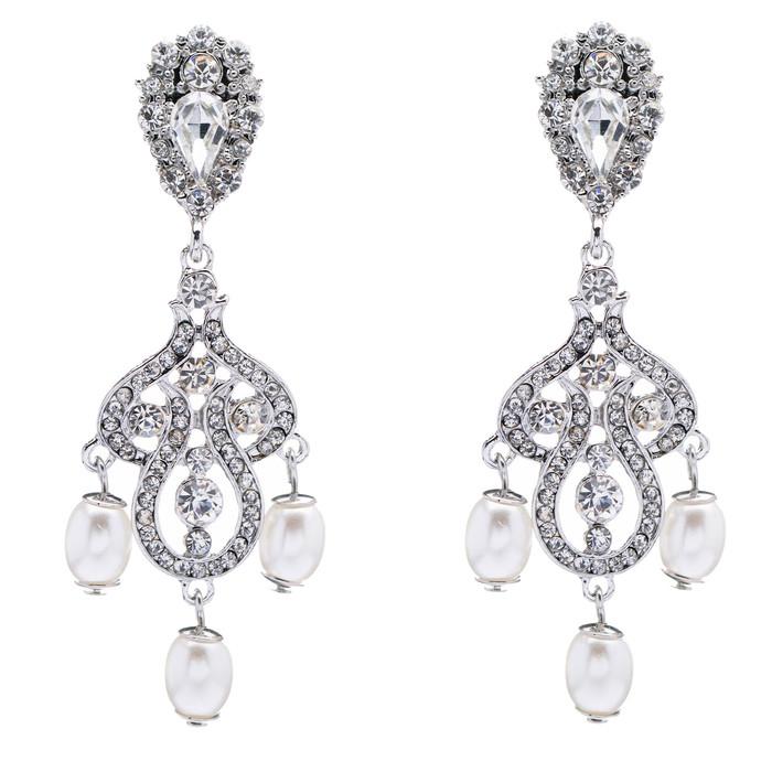 Bridal Wedding Jewelry Crystal Rhinestone Pearl Vintage Dangle Earrings White