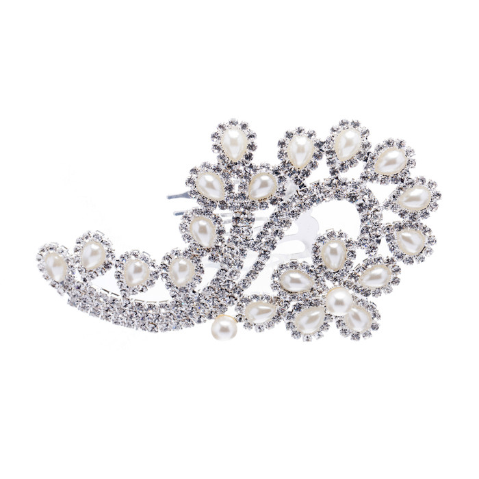 Bridal Wedding Jewelry Crystal Rhinestone Pearl Floral Teardrops Hair Comb Pin