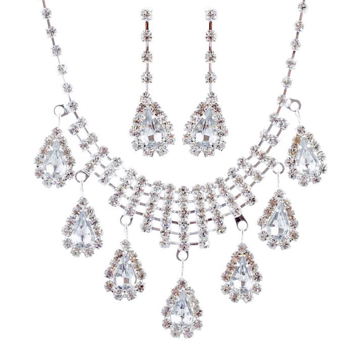 Bridal Wedding Jewelry Set Crystal Rhinestone Dangle Teardrop Necklace Silver