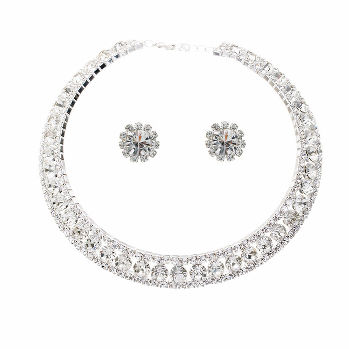 Bridal Wedding Jewelry Set Crystal Rhinestone Collar Choker Necklace Silver