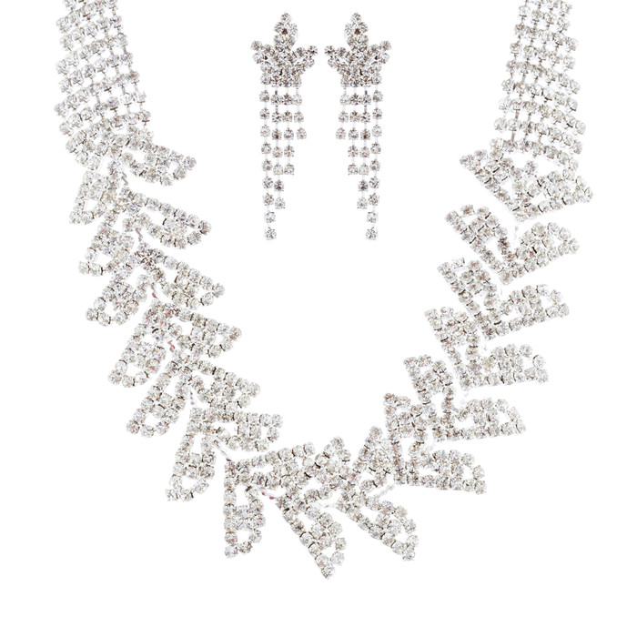 Bridal Wedding Jewelry Set Crystal Rhinestone Trendy Chic Necklace Silver