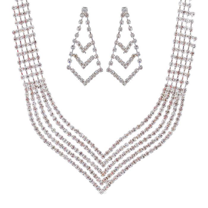 Bridal Wedding Jewelry Set Crystal Rhinestone Stylish V Drop Necklace Silver