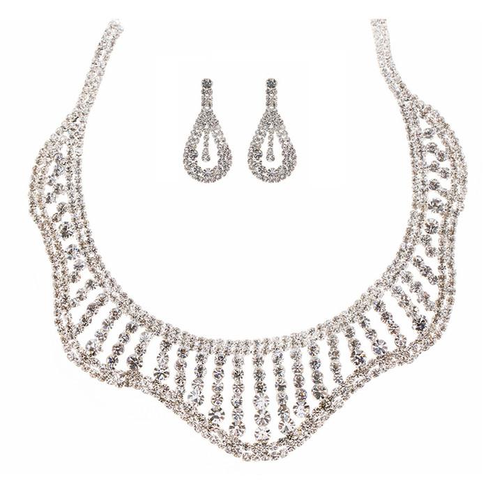 Bridal Wedding Jewelry Set Crystal Rhinestones Wavy Curl Bib Necklace Silver