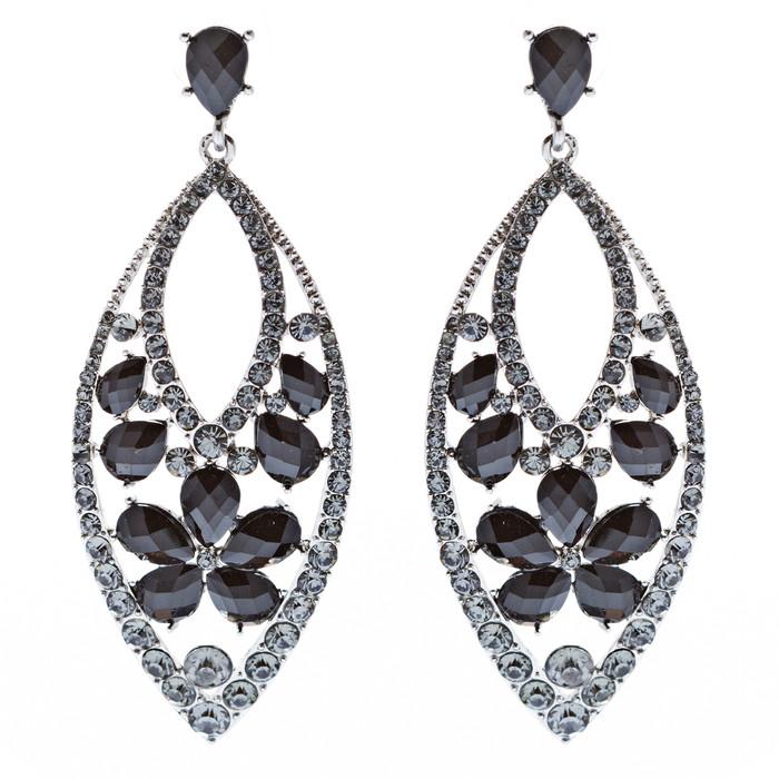 Fashion Stunning Crystal Floral Navette Earrings Black