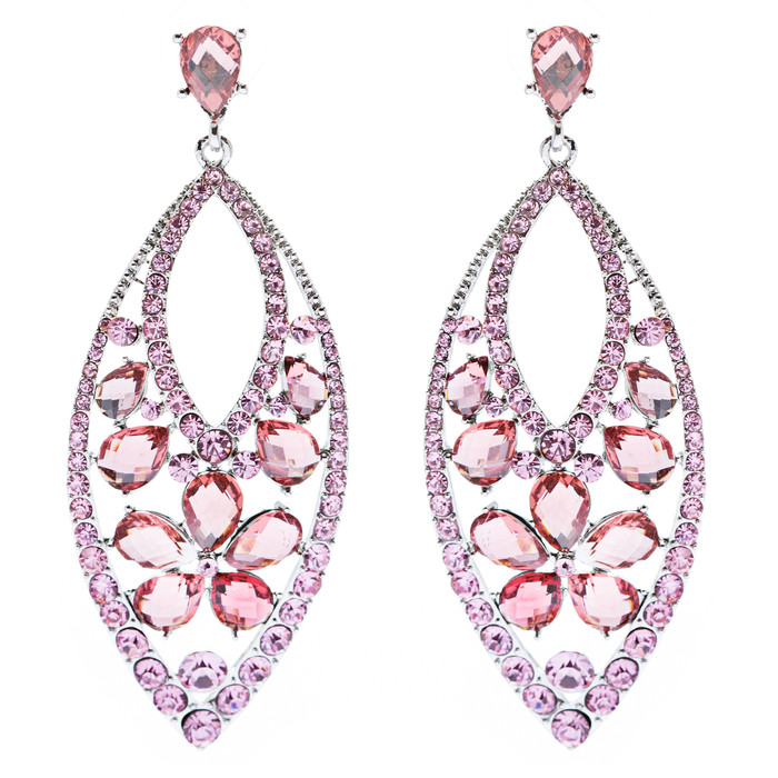 Fashion Stunning Crystal Floral Navette Earrings Pink