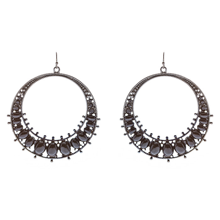 Fashion Large Hoop Drop Dangle Crystal Earrings Black