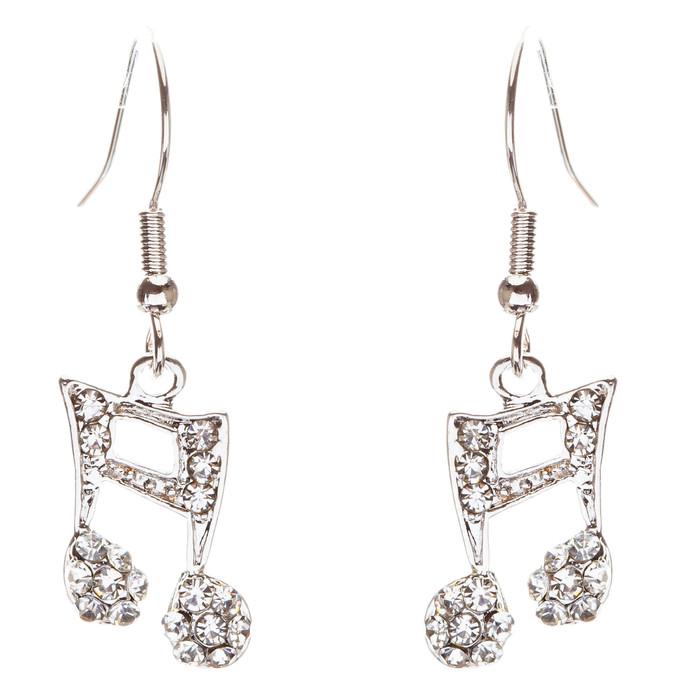 Music Note Charm Crystal Rhinestone Fashion Dangle Earrings Silver Tone Clear