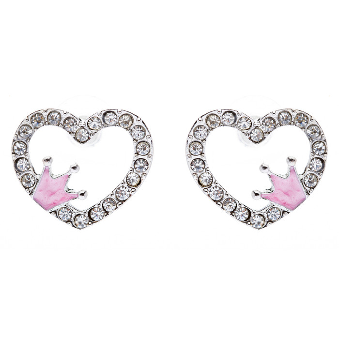 Sparkle Heart Shape with Crown Fashion Medium Stud Earrings Valentine Love