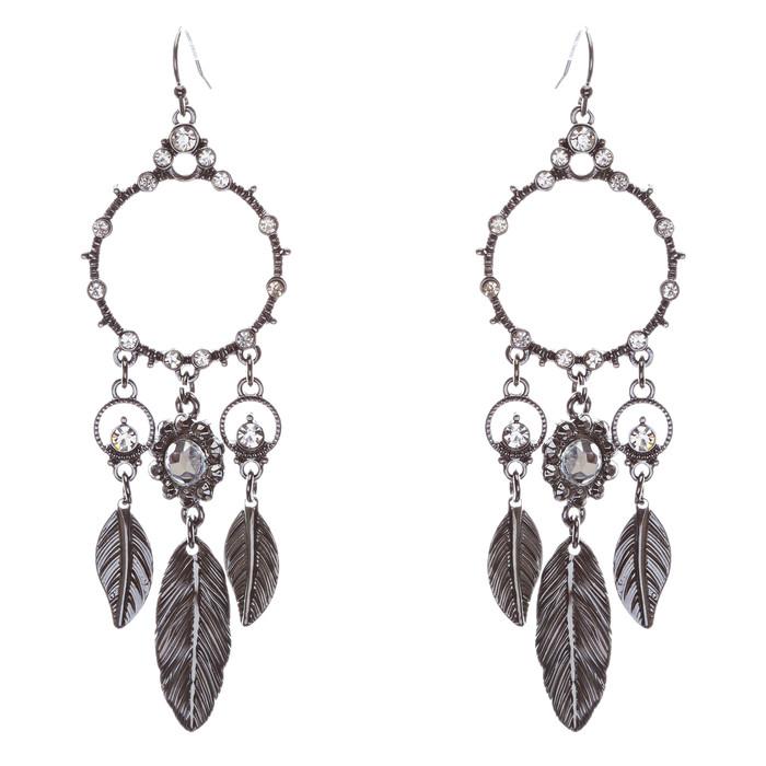 Beautiful Leaf Drop Circle Crystal Rhinestone Fashion Dangle Earrings Hematite