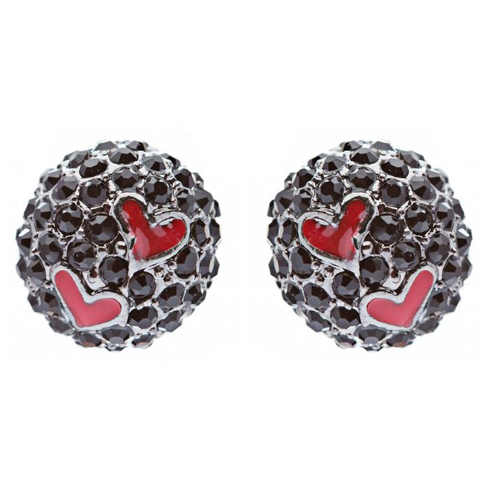 Adorable Sweet Crystal Rhinestone Heart Ball Fashion Stud Earrings Black Red