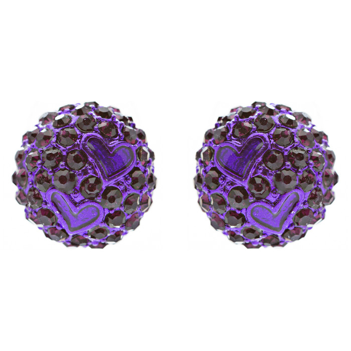 Adorable Sweet Crystal Rhinestone Heart Ball Fashion Stud Earrings Purple