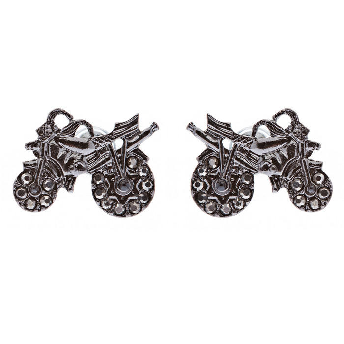 Fun Speedy Motorcycle Crystal Rhinestone Fashion Small Stud Earrings Hematite