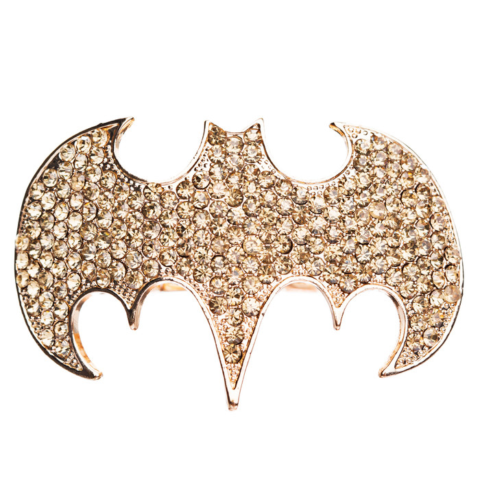 Fun Bat Crystal Rhinestone Two Finger Stretch Adjustable Ring Gold Brown