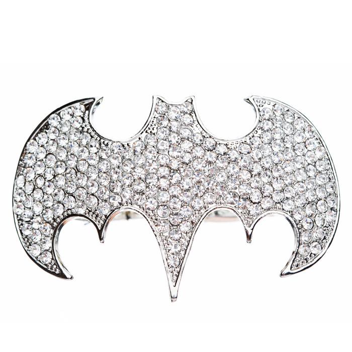 Fun Bat Crystal Rhinestone Two Finger Stretch Adjustable Ring Silver Clear