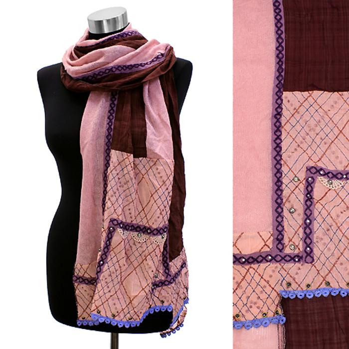 Square Corner Hand Crafted Fashion Design Scarf Pink