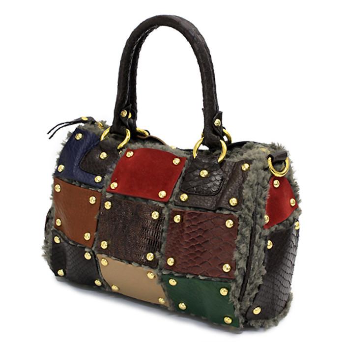 Multi Faux Leather Patchwork Patterned Faux Fur Based Satchel Handbag Bag Brown