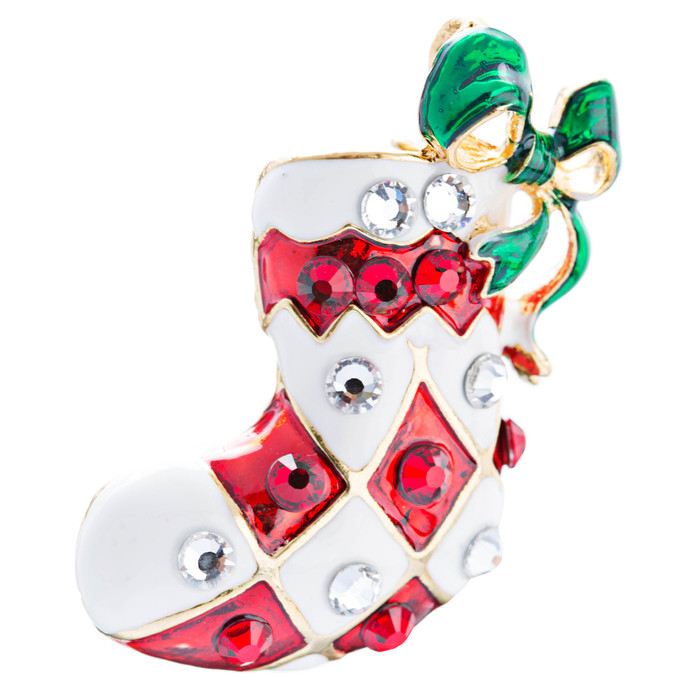Christmas Jewelry Red White Sock Green Ribbon Gold Tone Crystal Charm Pin Brooch