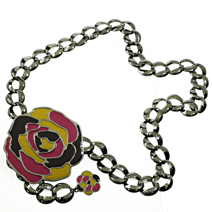 Linked Large Flower Circle Chain Woman Fashion Belt
