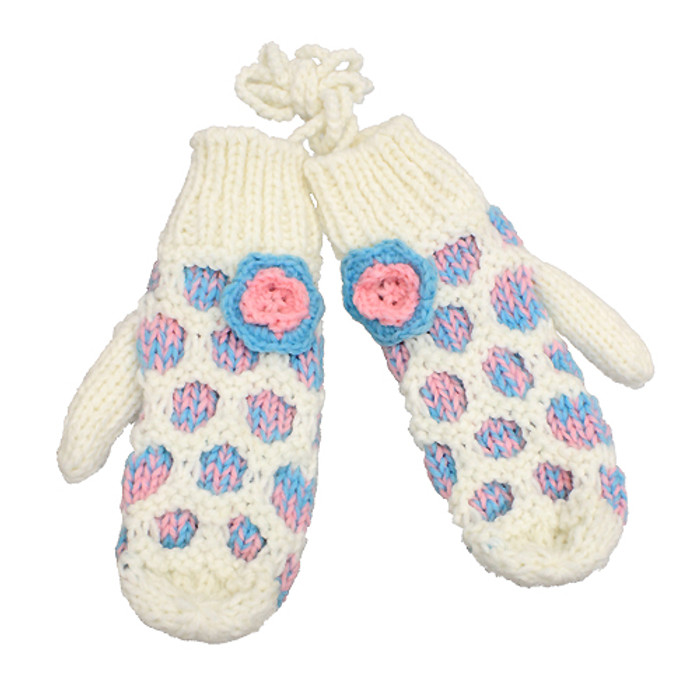 Hand Knitted Mitten with Shoulder Strap Fleece Liner Blue Pink Flower White