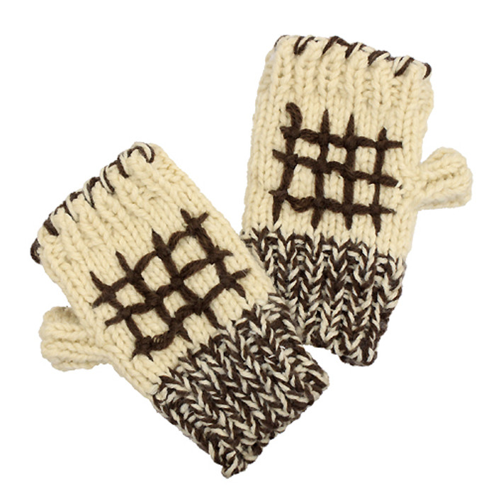 Hand Knitted Fingerless Gloves Mittens Fleece Liner Brown Pattern Beige
