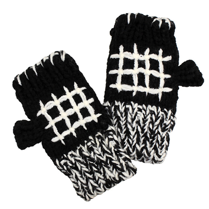 Hand Knitted Fingerless Gloves Mittens Fleece Liner White Pattern Black