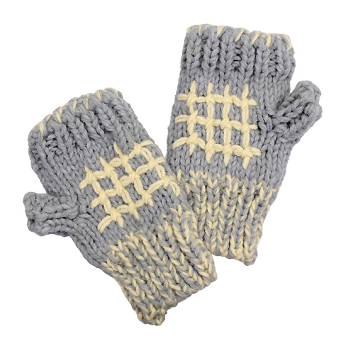 Hand Knitted Fingerless Gloves Mittens Fleece Liner Beige Pattern Gray