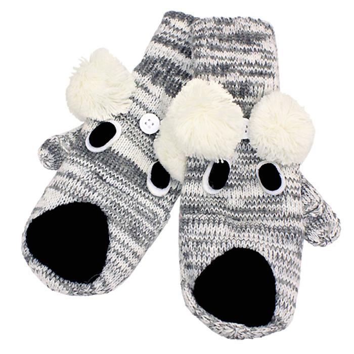 Knitted Fun 3D Animal Soft Mittens Gloves Gray Koala