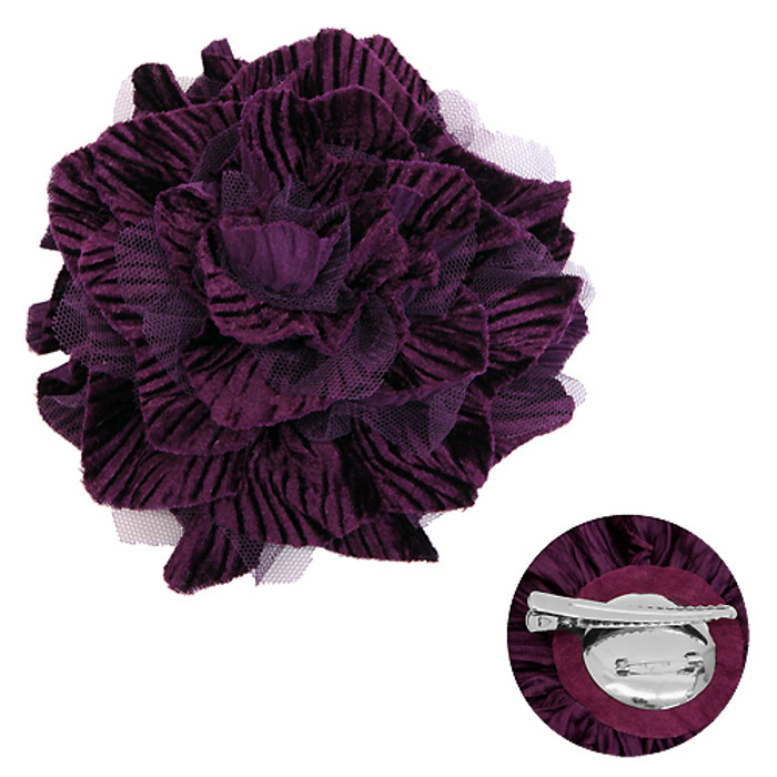 2-Way Velvet Big Flower Corsage Brooch Hair Pin Purple