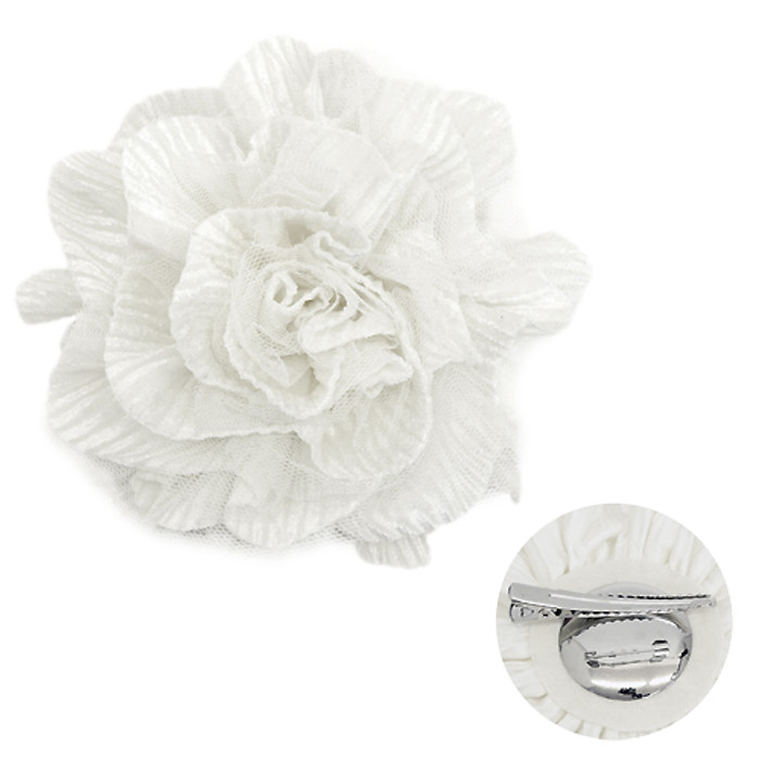 2-Way Velvet Big Flower Corsage Brooch Hair Pin White