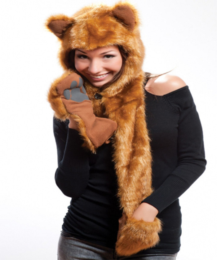 Faux Fur Plush 3D Full Animal Hood with Pocket Hat Scarf Mitten Fox