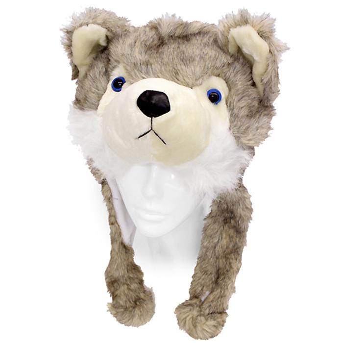 Plush Soft 3D Animal Trooper Trapper Hat Ear Flaps Fleece Liner Beige Gray Fox
