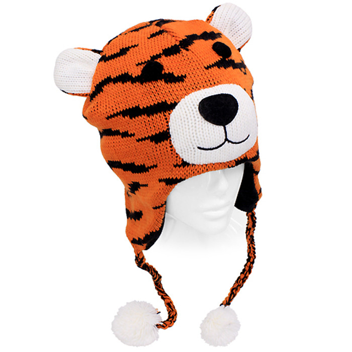Knitted 3D Animal Trooper Trapper Hat Ear Flaps Braided Tassels Orange Bengal