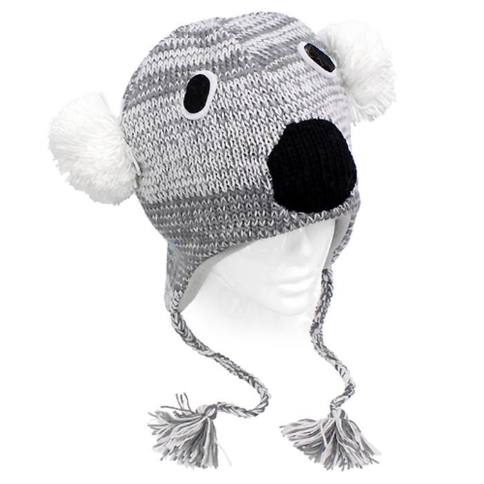 Knitted 3D Animal Trooper Trapper Hat Ear Flaps Braided Tassels Gray Koala