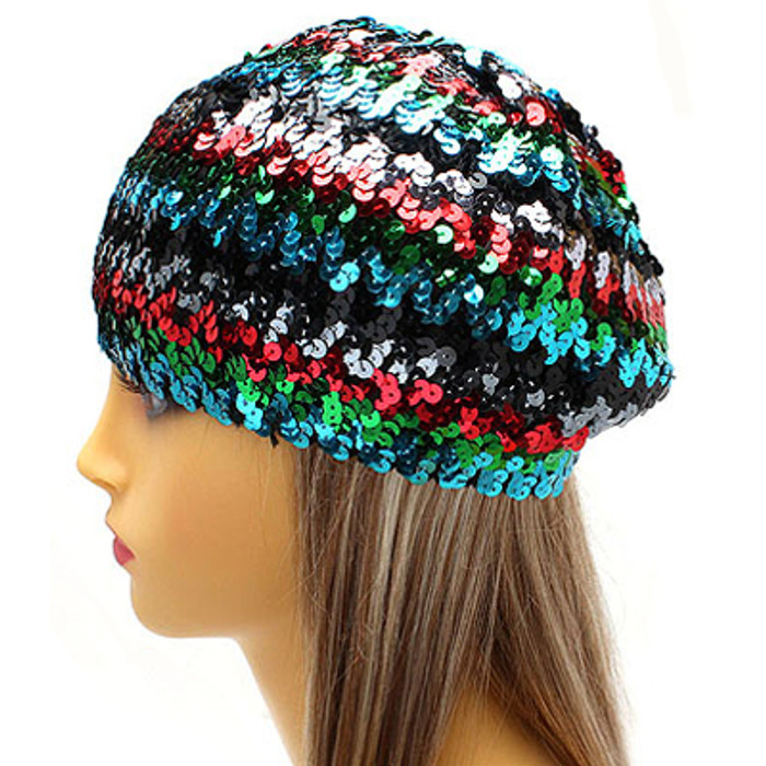 Sparkle Glitter Sequin Lightweight Fashion Beanie Hat Multi-Colored Blue