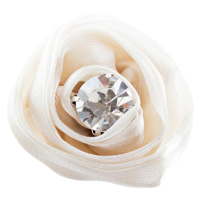 Organdy Fabric Floral Rose Adjustable 1 Ring Creme