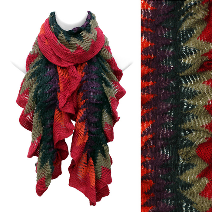 Multi Tone Ruffle Knit Cold Weather Fashion Scarf Orange Red