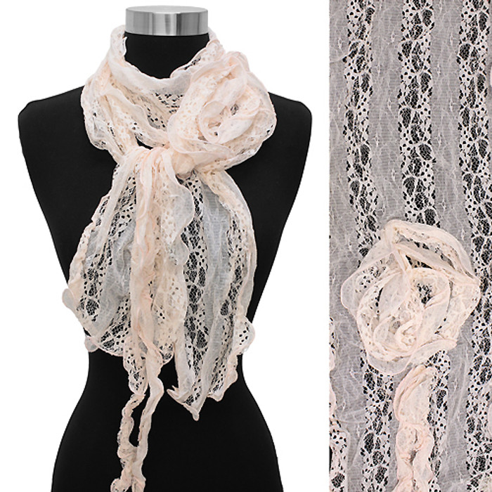 Gorgeous Floral Decorated Lightweight Lace Fashion Scarf Pink