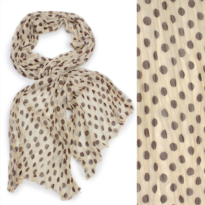 Adorable Sweet Polka Dot Pattern Lightweight Fashion Scarf Beige
