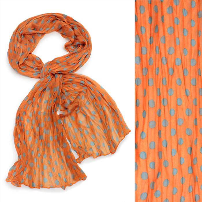 Adorable Sweet Polka Dot Pattern Lightweight Fashion Scarf Orange