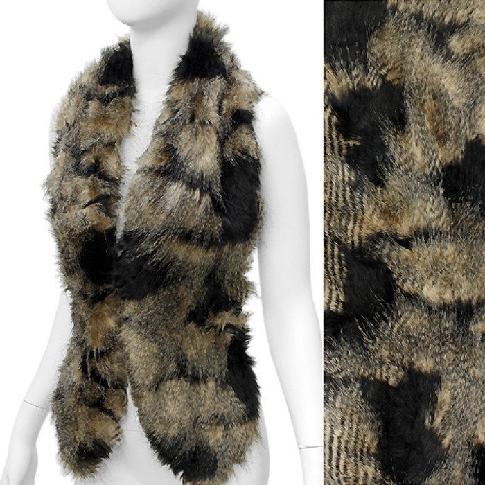 Duo Tone Hooked Closures Faux Fur Fashion Scarf Black Brown