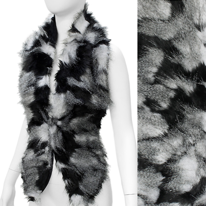 Duo Tone Hooked Closures Faux Fur Fashion Scarf Black White