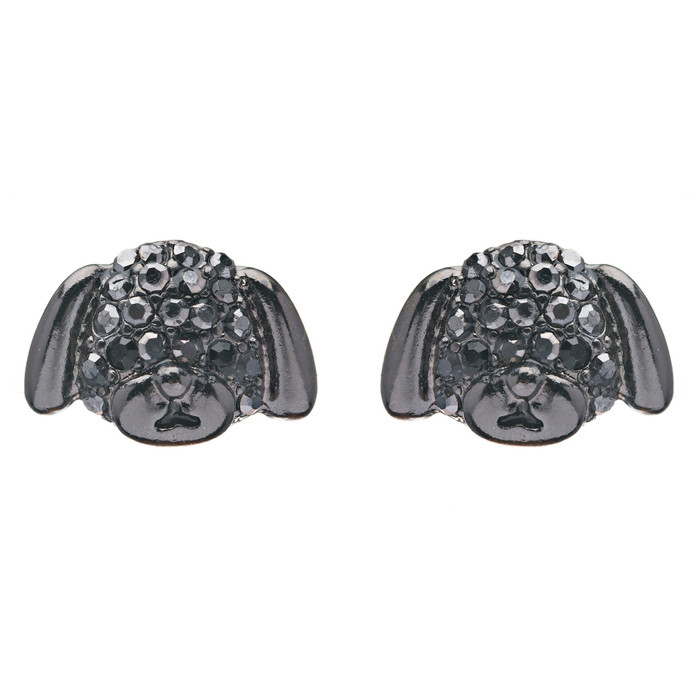 Puppy Dog Crystal Rhinestone Fashion Small Stud Earrings Hematite Black