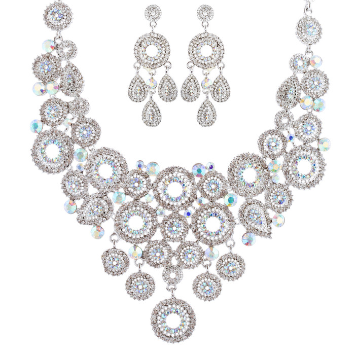 Bridal Wedding Jewelry Set Crystal Rhinestone Circle Links Necklace Silver AB