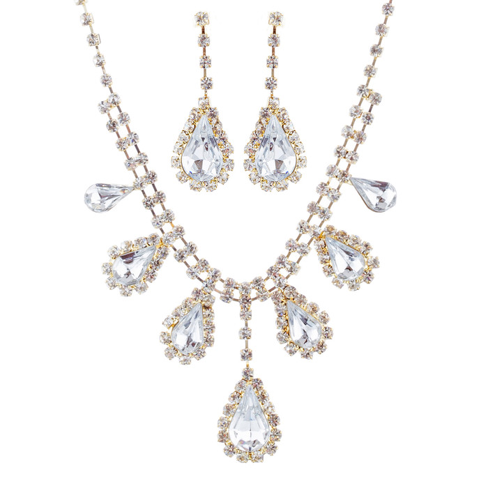 Bridal Wedding Jewelry Set Crystal Rhinestone Dangling Teardrops Gold