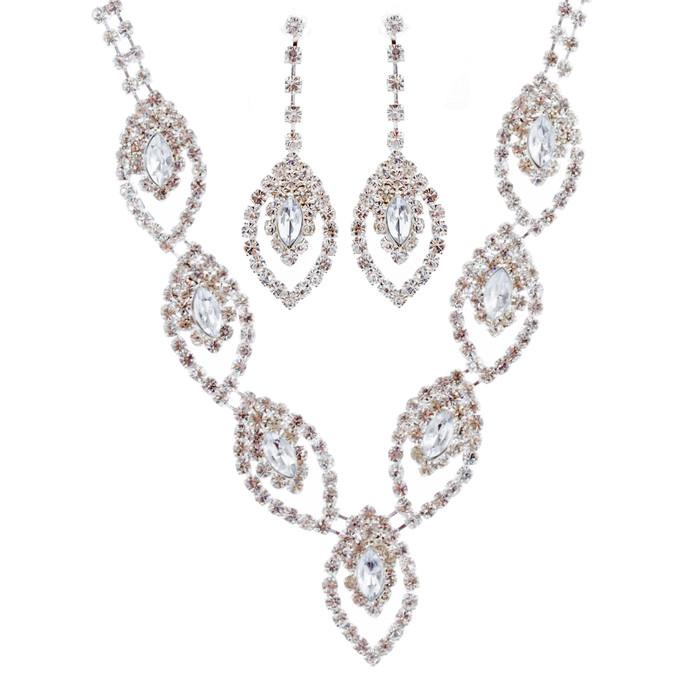 Bridal Wedding Jewelry Set Crystal Rhinestone Navette Design V Drop Silver