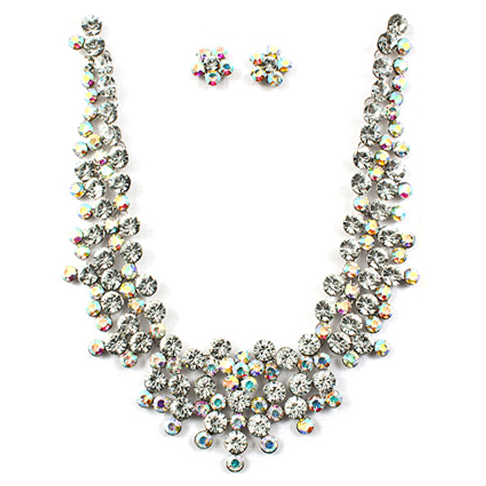 Bridal Wedding Jewelry Set Crystal Rhinestone Stunning Cluster Necklace Silver