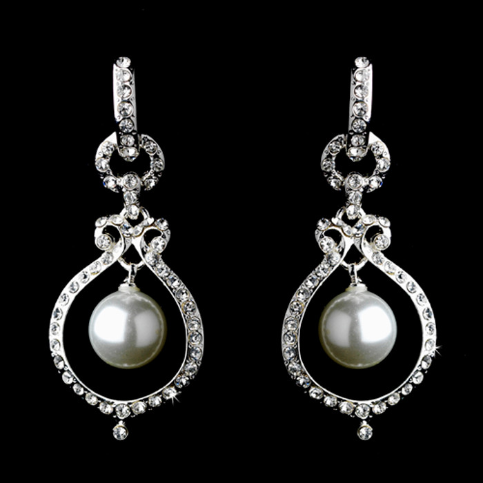 Bridal Wedding Jewelry Austrian Crystal Pearl Dangle Drop Earrings Silver White